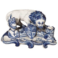 Early 1900s French Faience Inkwell in the Style of Emile Galle