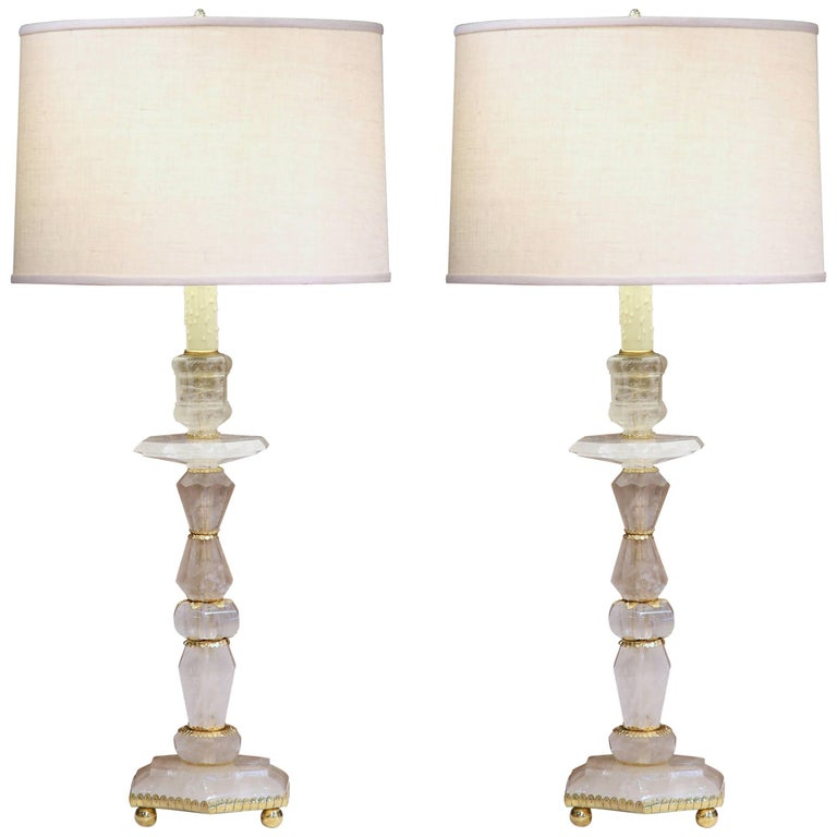 Tall Pair of Italian Hand-Cut Rock Crystal and Brass Mounts Lamp Bases