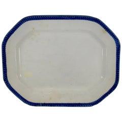 English Staffordshire Leeds Cobalt Blue Feather Edge or Shell Edge Platter