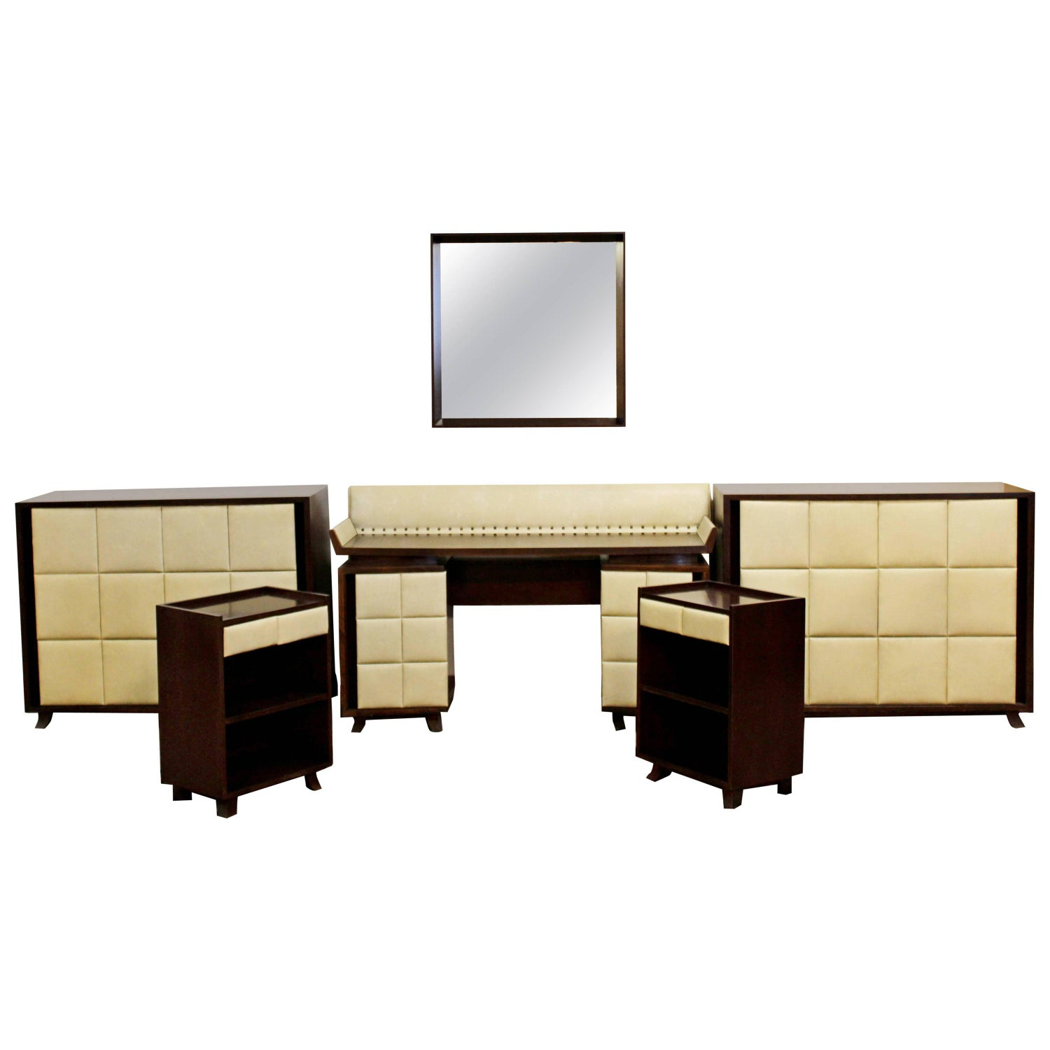 Art Deco Gilbert Rohde For Herman Miller Mahogany Seven Piece Bedroom Set 1930s