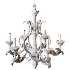 French Style Painted Acanthus Leaf Six-Arm Iron Candlestick Chandelier