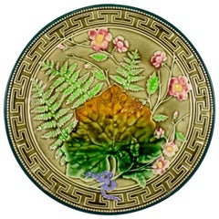 French Choisy-le-Roi Greek Key & Fern Majolica Barbotine Plate
