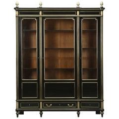 Antique French Ebonized Solid Mahogany Bookcase, or Cabinet, circa 1900