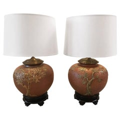 Pair of Antique Japanese Studio Pottery Stoneware Pots Now as Lamps
