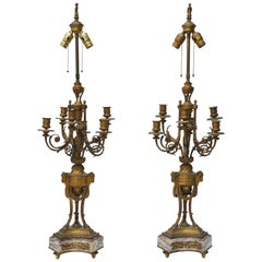 Pair of French Ormolu Candelabra Lamps