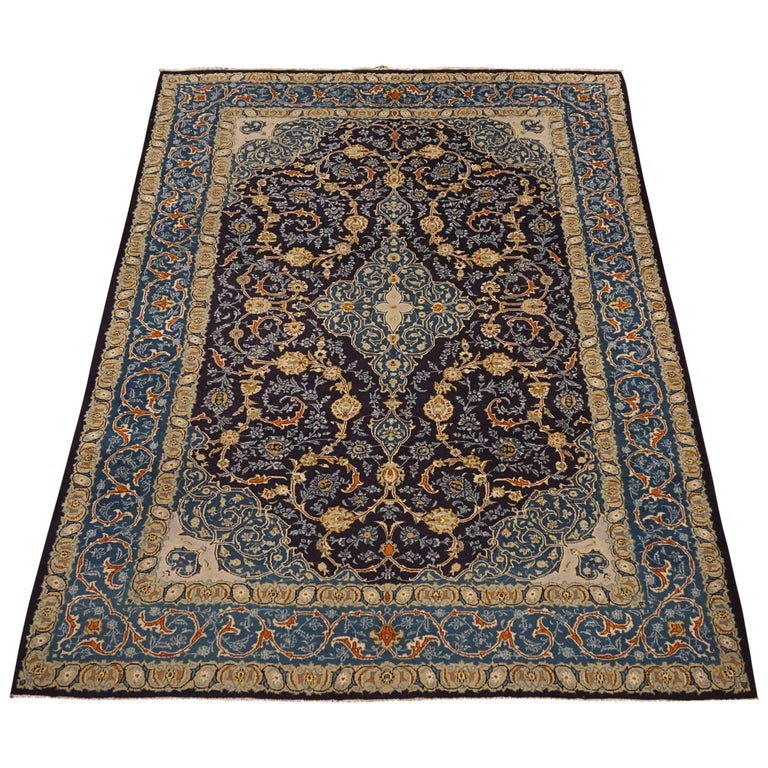 Blue Antique Hand-Knotted Persian Kashan, circa 1900