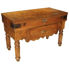 Antique French Butcher Block from Dijon, circa 1895