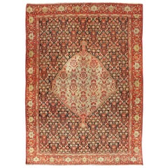 Antique Persian Senneh Rug with Unique Medallion and All-Over Design