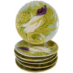 French Art Nouveau Faïence Majolica Asparagus & Artichoke Plates, Set of Six