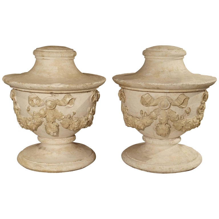 Pair Of Large And Unusual Three Piece Antique Plaster Vases From