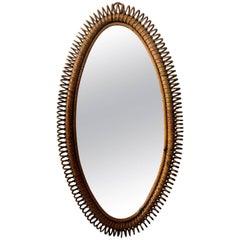 Italian Bent Rattan Wall Mirror, circa 1950