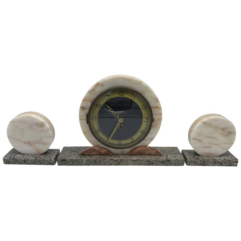 1920s Art Deco Onyx, Marble and Brass Mantle Clock Set