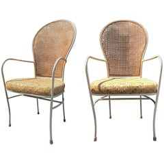 Milo Baughman for Thayer Coggin Caned Armchairs, Pair