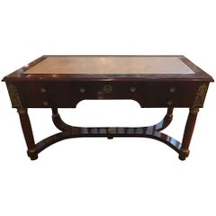 Empire Style Mahogany and Ormolu Leather Topped Desk