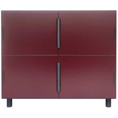 Contemporary Nocturne Cabinet in Oxblood, with Blackened Steel Hardware