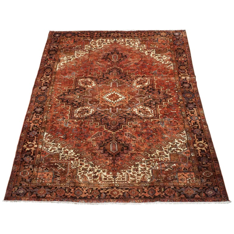 Antique Cotton Agra Rug With Abrash Circa 1900 For Sale: Antique Persian Heriz Serapi Rug With Abrash, Circa 1900