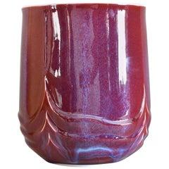 Decorative Glazed Red Decorative Porcelain Vase by Japanese Master Artist