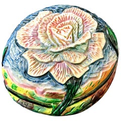 Contemporary Eddie Dominguez Ceramic Hand-Carved Floral Art Sculpture