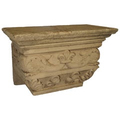 Antique Beige Limestone Pedestal, Savonnières-en-perthois France, 19th Century