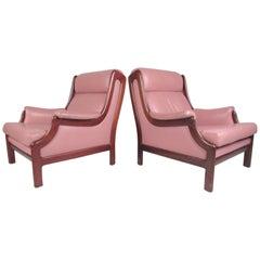 Scandinavian Modern Teak and Leather Lounge Chairs