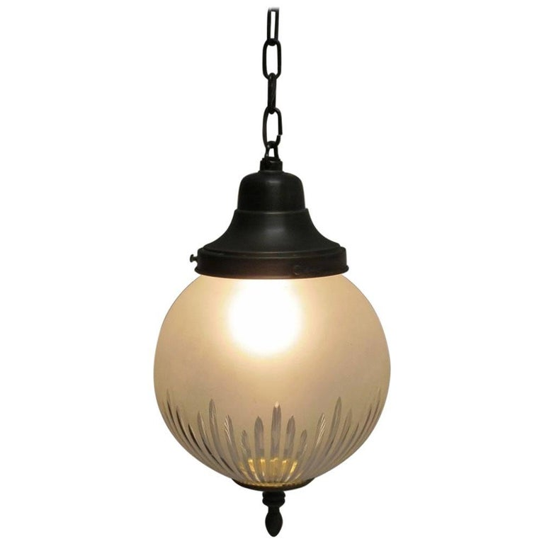 Frosted and Cut-Glass Pendant Light Fixture