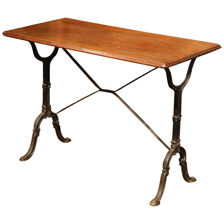 Early 20th Century, French Iron and Wood Bistrot Table from Paris