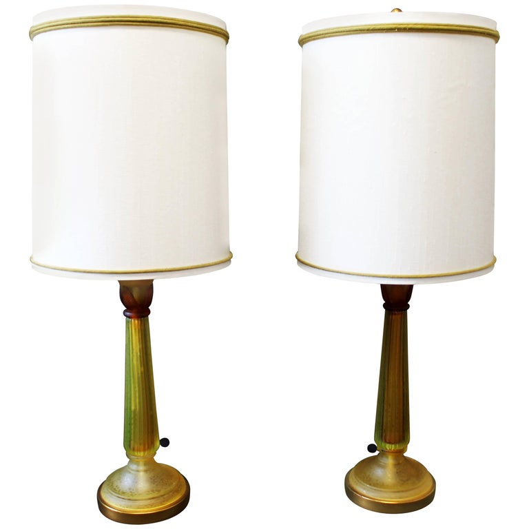 Mid-Century Modern Seguso for Marbro Pair of Amber Glass Lamps Original Shades