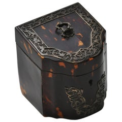 Rare 19th Century Tortoiseshell Tea Caddy