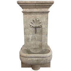 Hand-Carved Limestone Wall Fountain