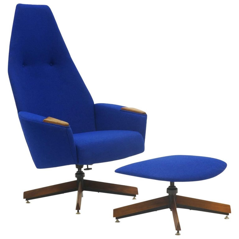 Adrian Pearsall for Craft Associates High Back Swivel Lounge Chair and Ottoman
