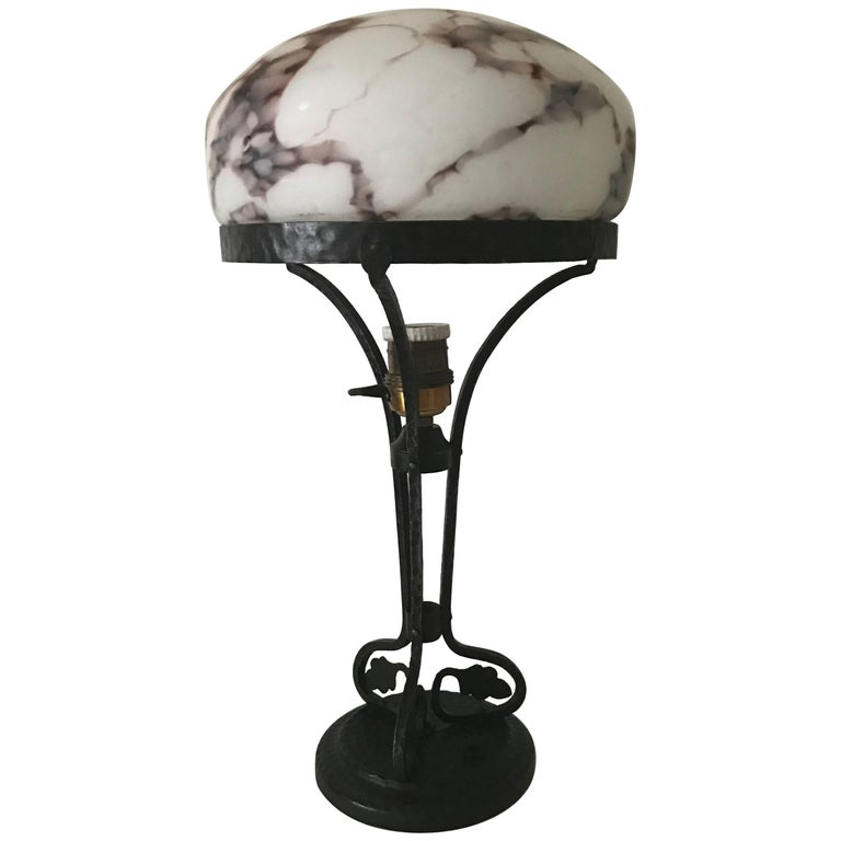 1915, Swedish Art Nouveau Jugendstil Wrought Iron and Glass Table Lamp