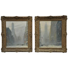 New York City Pair of Oil Paintings