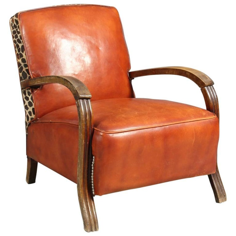 Danish Small Lounge Chair In Cognac Leather And Brass And Leopard