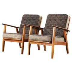 Pair of Danish Hans Wegner Style Midcentury Easy Chairs in Teak