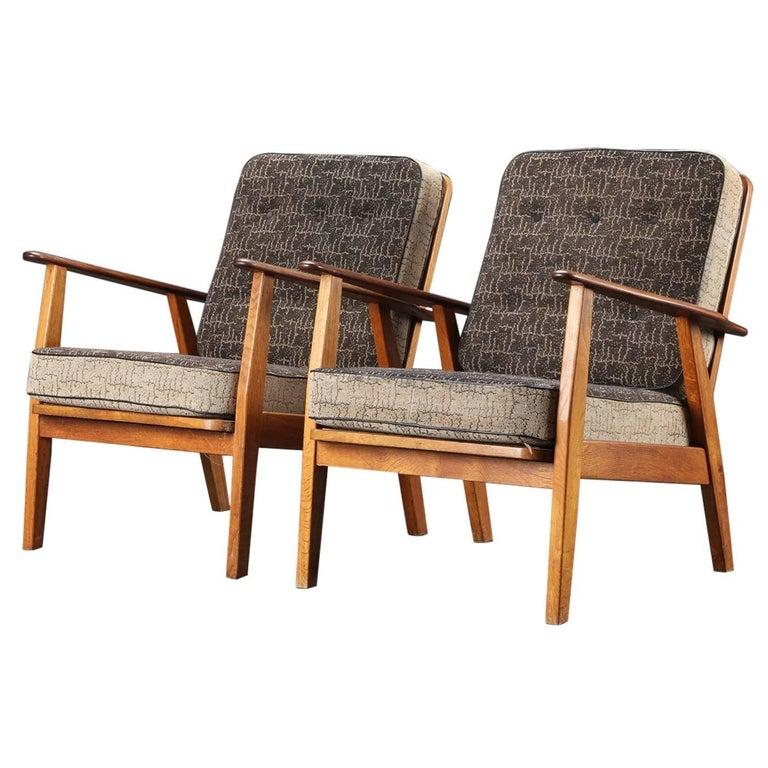 Pair of Danish Hans Wegner Style Midcentury Easy Chairs in Teak