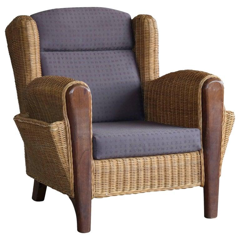 Danish Mid-Century Wicker Lounge Chair with Magazine Pockets