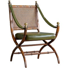 Danish Campaign Style Chair in Carved Oak, 1960s