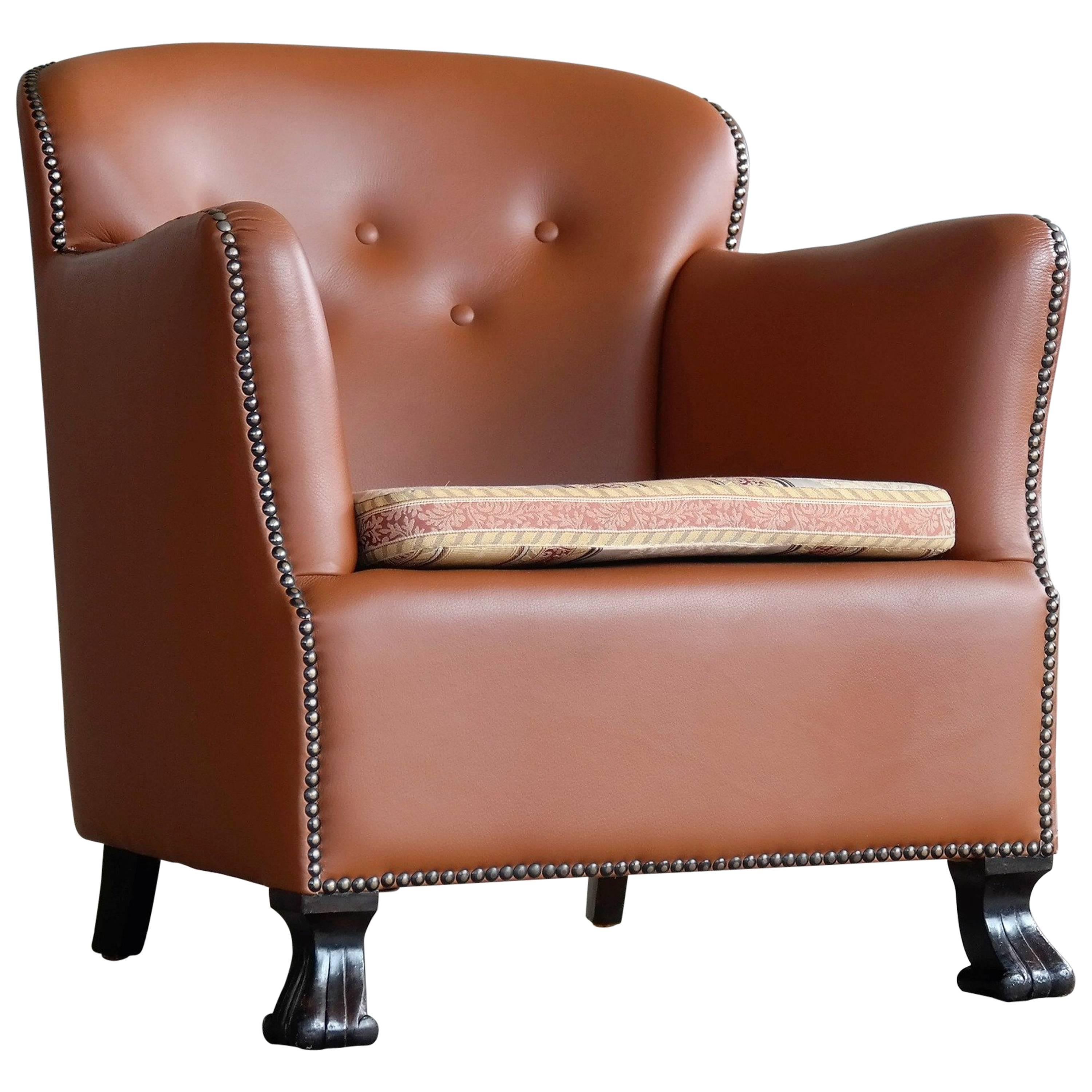 Danish, 1930s Half Size Club Chair In New Cognac Colored Leather And Brass  Tacks