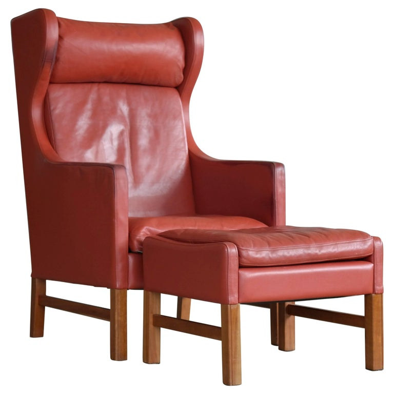 Svend Skipper Danish Wingback Armchair and Ottoman Model Admiral in Red Leather