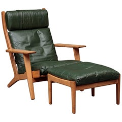 Hans Wegner Highback Lounge Chair Model GE290a with Ottoman in Oak and Leather