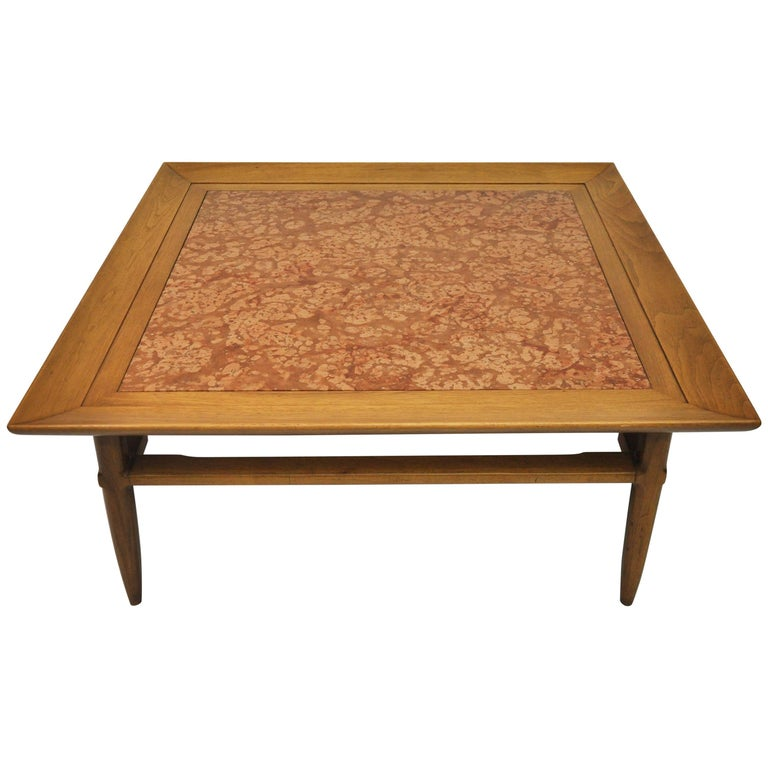 Travertine Slab Coffee Table: Sleek Mid-Century Modern Travertine And Teak Coffee Table