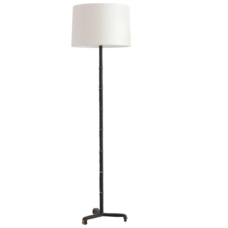 Jacques Adnet Leather Wrapped Floor Lamp For Sale