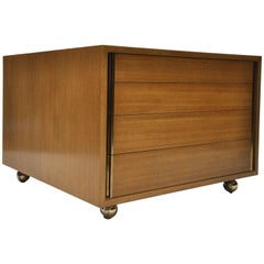 Ed Wormley for Dunbar Four-Drawer Blonde Mahogany Chest or Lamp Table on Casters