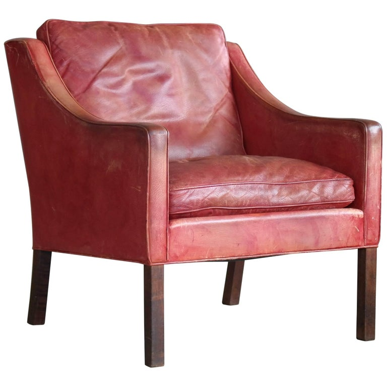 Børge Mogensen Lounge Chair Model 2207 in Red Leather for Fredericia
