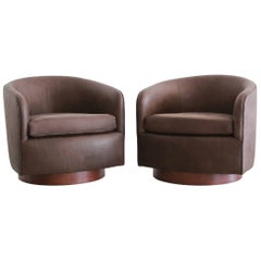 Chocolate Leather Swivel Chairs in the Style of Milo Baughman