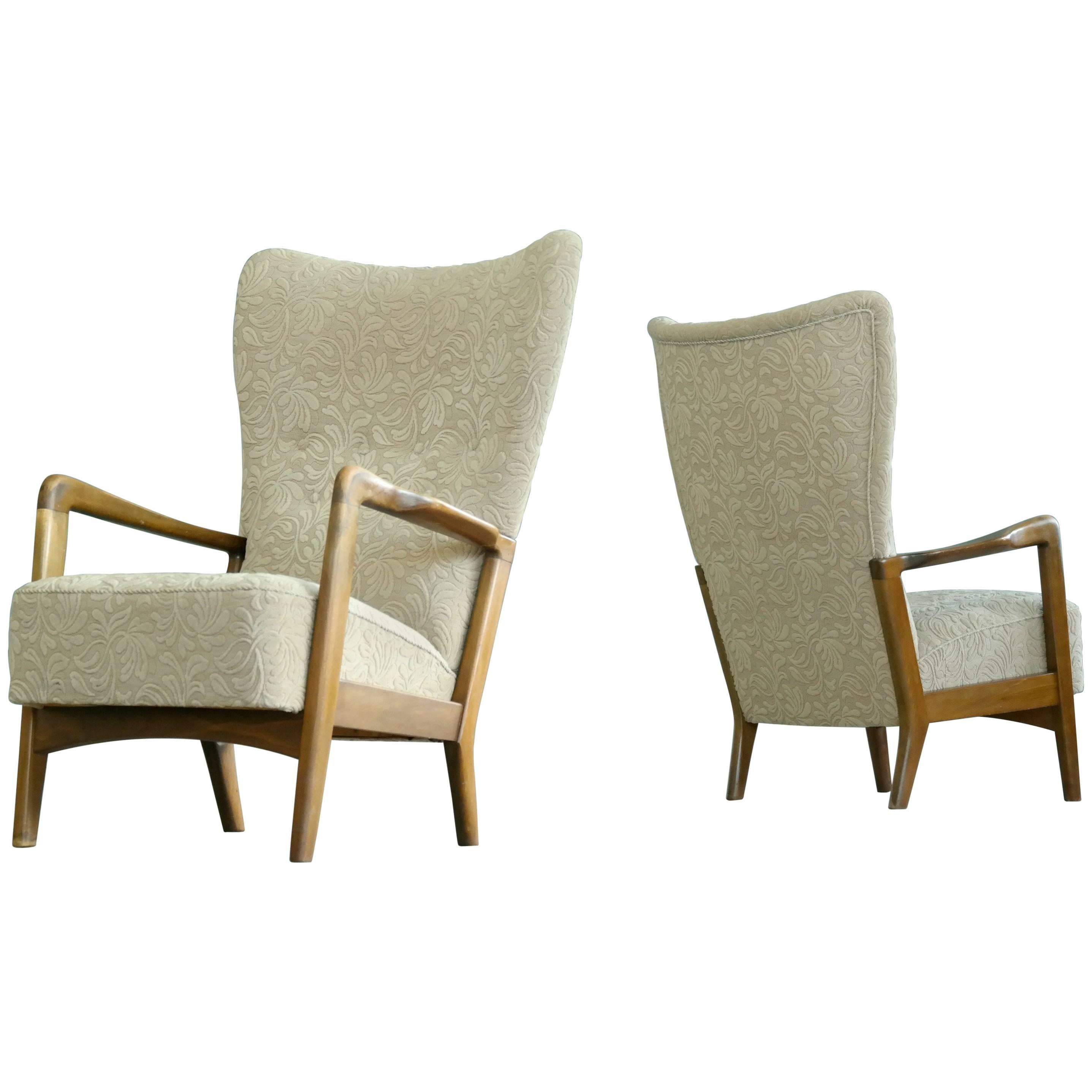 Soren Hansen Pair Of High Back Open Armchairs For Fritz Hansen, Denmark,  1940s