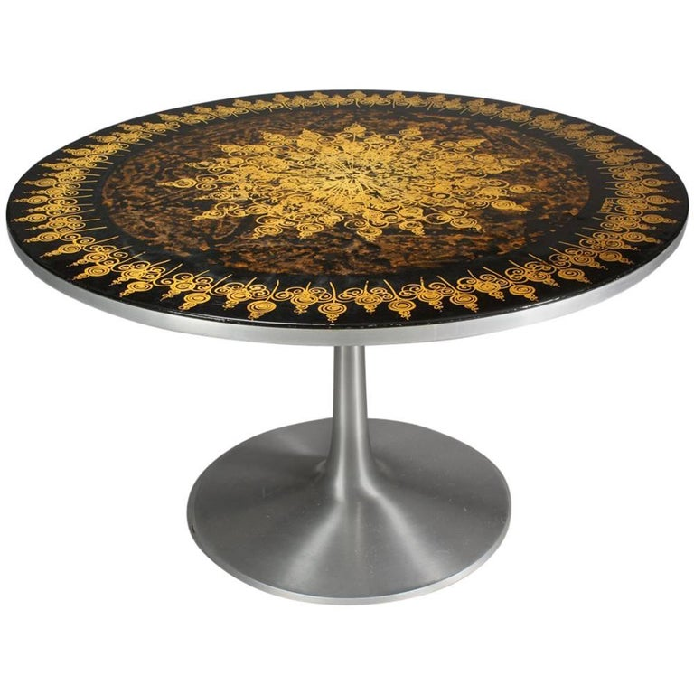 poul cadovius 1960s dining table in aluminum decorated by susanne