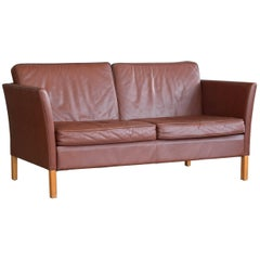 Borge Mogensen Style 2 1/2 Seat Sofa in Brown Leather by Vemb Polstermobelfabrik
