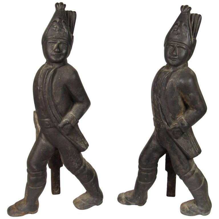 Pair of 19th Century Hessian Soldier Form Cast Iron Andirons