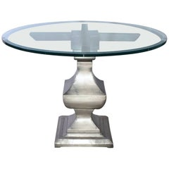 Contemporary Glass and Nickel-Plated Iron Pedestal Dining Table